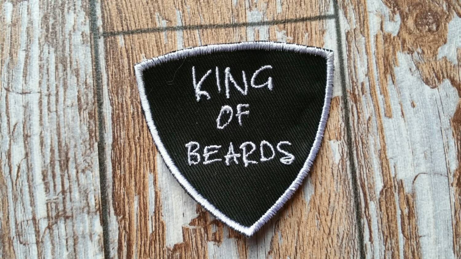 King of beards patch funny embroidered mens badge biker beard