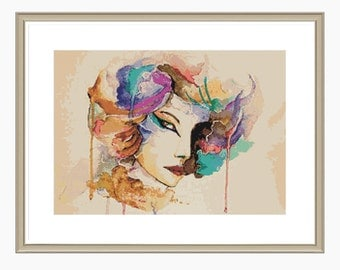Cross Stitch Pattern, Modern Cross Stitch - Watercolour cross stitch pattern