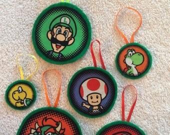 Mario Brothers Christmas Ornaments-Mario, Luigi and more! Set of 6!!