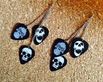 Skull Guitar Pick Earrings