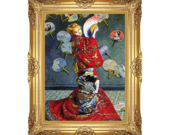 Framed Art Claude Monet Camille in Japanese Costume Painting Reproduction Asian Canvas Wall Artwork - Small to Large Sizes - M01107-8