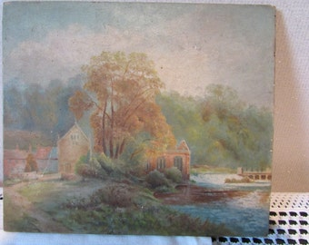 Amateur painting on wood of Kings Mill, Castle Donington, UK
