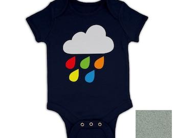 Rainbow Drop Cloud baby grow (Flock Detail)