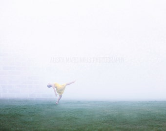 Artwork. Into the fog. Fine Art Photography. Metallic print. Premium professional photo print. Nature, dew, fog, woman, dance, big step