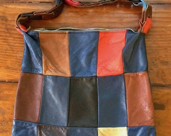 1970's Leather Patchwork Purse/Shoulder Bag.