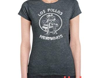 Vintage Los Pollos Hermanos Graphic Tee for Womens (t-shirt funny break bad look very soft girl ladies fit)