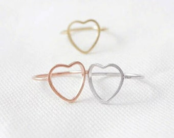 Heart Ring, Dainty Jewelry, Minimalist Ring, Everyday Ring, Simple Ring, Fine Jewelry, Woman Jewelry, Tiny Ring, Midi Ring