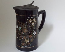 Black Ceramic Pitcher With Tin Lid