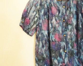 Day Dress, vintage dress, used dress, floral dress, summer dress, casual dress, house dress, 70s dress, 80s dress, 90s dress, D3