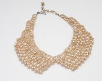 VINTAGE Pearl Collar Bib Necklace