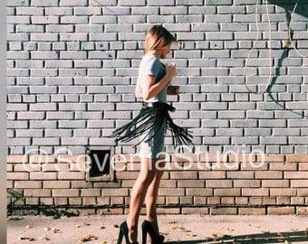 PLUS SIZE! fringe leather skirt