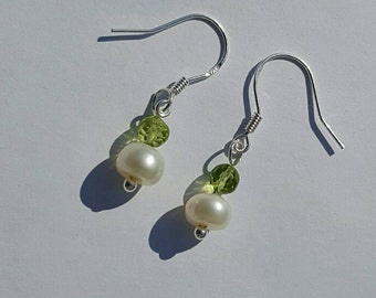 Sterling silver freshwater pearl and peridot drop earrings