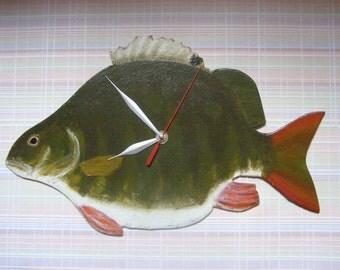 fat Perch Fish - fish wall clock