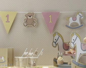 Rock A Bye 1st Birthday Baby Girl Pink Banner