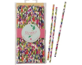 Floral Fiesta Straw 30pk Party Tableware Accessories Party Supplies