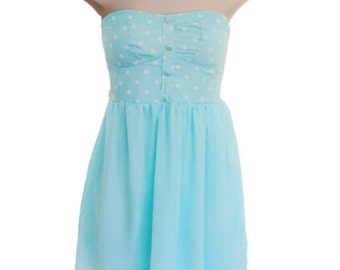 Cute  Party Dress, No Shoulder Dress,Strapless Dress,Sea Foam Blue Sundress, Small