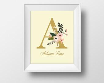 Custom Monogram Art Prints A/B/C/D/E, Custom Initial Prints, Art Print, Personalized Initial Prints, Floral Initial Prints, Nursery Wall Art