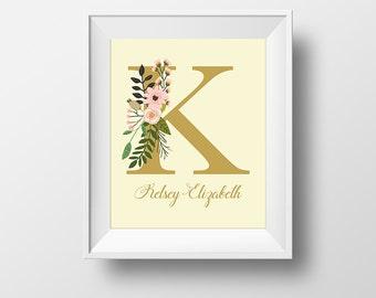 Personalized Initial Prints K/L/M/N/O, Monogram Prints, Custom Wall Art, Nursery Prints, Floral Initial Prints, Nursery Wall Art,PetiteFolio