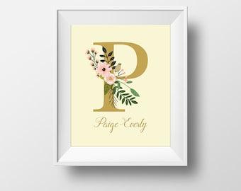 Custom Monogram Prints P/Q/R/S/T, Custom Initial Prints, Art Prints, Personalized Initial Prints, Floral Initial Prints, Nursery Wall Art