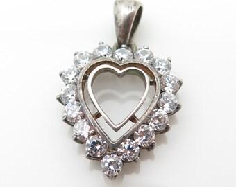 Vintage 925 Sterling Silver Cubic Zirconia Heart Cutout Pendant (1.8g)