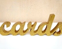 glitter gold sign CARDS, wedding wood cutout word, calligraphy sign, freestanding reception decoration, sparkly sign , word art , sparkles
