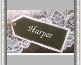 CHRISTMAS SALE Embroidered Fabric Name Tags, Personalized Gift Tag, Custom Name Label, Fabric Name Tag with Felt Backing