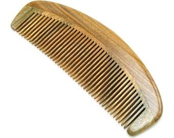 """Natural Green Sandalwood Massage Comb, No Static Wooden Hair Comb 6.1"""" (15.5cm)"""