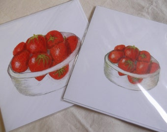 Bowl of Strawberries drawn in Coloured Pencils by Joan Longley