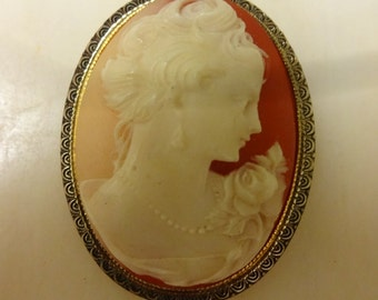 Vintage Cameo Brooch, carved resin