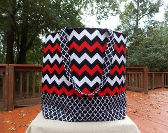 Red White Black Chevron Tote Bag