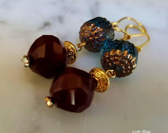 Stunning Faceted Garnet and Aqua Cathedral Bead Earrings