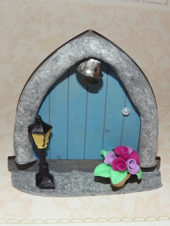 Blue fairy door fairy door elf door fairy accessories for Little fairy door accessories