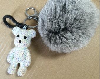 Cute Handbag Wallet Purse Charm Crystal Bear Doll attached Real Fur Pompoms Keychains