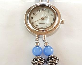 Blue beaded watch