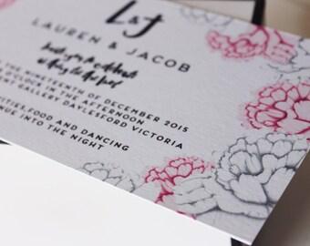 Pencil Peony Invitation/Wedding invite/DL invite