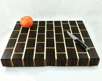 Brick Effect End Grain Butcher Block Cutting Board - Unisex Gift - Cook Gift - Retro Kitchen Decor - Anniversary Gift - Housewarming Gift