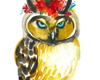 Dreamy OWL. Art Print.