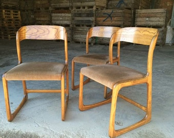 "Set of 3 ""Sled"" chairs by Baumann"