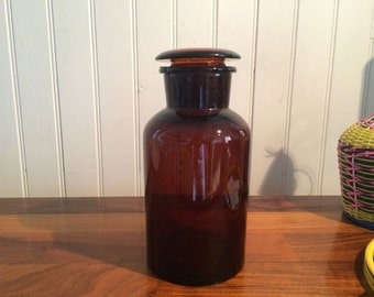 Amber apothecary jar vintage - 1950s