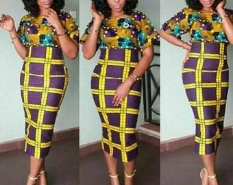 Classic Print High Waist Ruler Skirt, high waist skirt, midi skirt, knee length skirt, African Print skirt,
