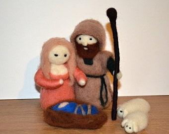 Needle Felted Nativity Set - Marie,Joseph and Jesus