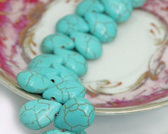 Turquoise Briolettes 16 x 12 mm  /  Turquoise Teardrop Beads / Turquoise Beads