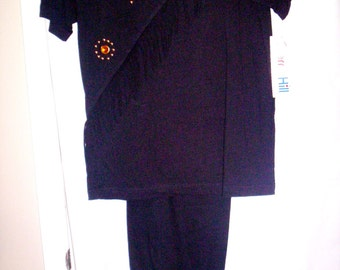 Vintage 90's Fringed Pantsuit by Cherry Hill, New Vintage Size M Short Sleeves, Black Pants Set