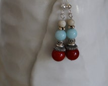 Red Coral, Amazonite and African Opal Earrings