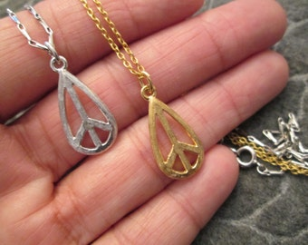 """ORIGINAL 1960's """"PEACE SIGN"""" necklace>> Authentic Vintage >new old stock, teardrop shape>>Silver or Gold, your choice> Unisex"""