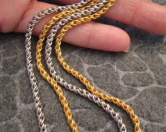 "SALE>>>Stunning 15"" Designer Rope Chain>>Gold or Silver, your choice> vintage 1970's, new old stock"