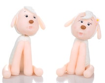 Sheep Couple Cake Topper. Handmade in Cold Porcelain. Birthday / Wedding