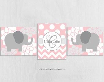 Pink Elephant Nursery Art Print Set of 3 - Elephant Nursery Decor - Pink and Gray Nursery Art Prints - Baby Girl Nursery Decor