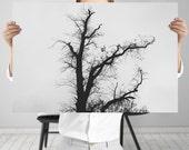 Black and White Nature Photography - Baroque Tree Art Print - Dark Wall Art, Digital Download |  Woodland Decor | Minimalist Wall Art