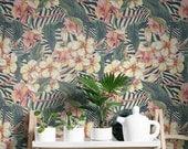 Hibiscus and Zebra Background Print Wallpaper - Removable Wallpaper - Zebra Wall Sticker - Hibiscus and Zebra Self Adhesive Wallpaper